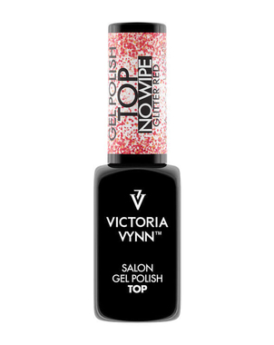 Финишное покрытие GEL POLISH TOP NO WIPE GLITTER RED